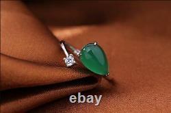 3ct Pear Cut Green Opal Réglable Bague De Fiançailles Solide 14k Finition Or Blanc