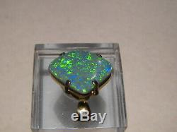 4.25 Ct. Australian Pendentif Opale Solide Noir Or Jaune 14 Kt Très Sparkly