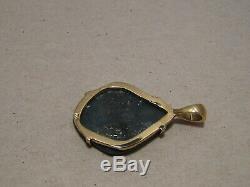4,25 Ct. Pendentif D'opale Noire Australienne En Or Jaune 14 Kt Massif, Très Brillant