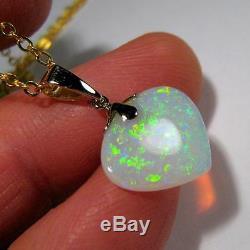 4.8ct Or 14k Or Bijou De Qualité Solide Opale Australienne Pendentif Bijoux # 187