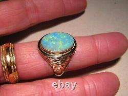 4 Ct. Grande Bague Opale Pour Hommes Solide 14 K Or 13,1 Grammes 14 K