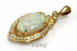 4 Cttw Natural White Opal Et Diamant Massif 14k Or Jaune Halo Drop Pendant 1.2