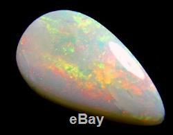 5,35 Carats Solide Opale Blanc Opale, Bien Rouge, Feu Vert, 18 X 10 X 4 MM Teardrop