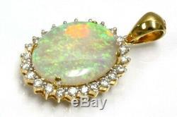 5.5 Ct Tw Natural Opal Et Diamant Massif 14k Or Jaune Goutte Halo Pendentif 1.2