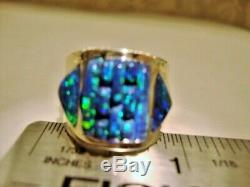 5.5 Large Noir Brillant Vert Mesdames Feu Opal Bague En Argent Sterling 325 $ L