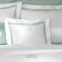 536 $ Matouk Lowell Percale Plat Roi Fiche 2pc Set 1 Taie Green Opal Italie