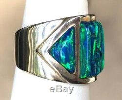 6 Large Noir Brillant Vert Cornrow Feu Opal Bague En Argent Sterling 325 $