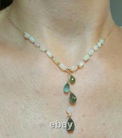 6ct Poire Zambienne Feu Émeraude Pendentif Opale Collier Massif Or Estampé 14k