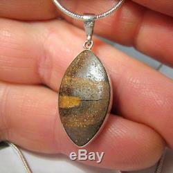 8.6ct Argent Massif Incrusté Naturel Australien Vert Pendentif Opale Cadeau Collier 886