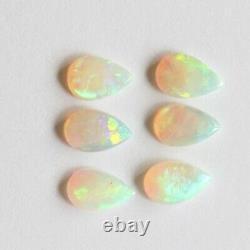 8 X 5mm 2.74ct Ensemble De 6 Poire Libre Naturelle Blanche /opale Légère