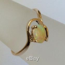 9 Ct 9k Or Jaune Massif Naturel Solide Australien Lumière Blanche Opale Griffe Anneau