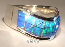 9 Vague Solide Brillant Bleu Vert Feu Opal Bague Pour Homme Mesdames 925 Argent