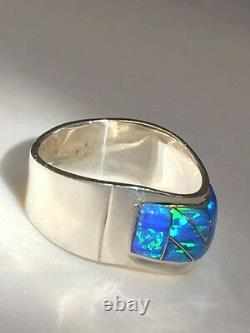 9 Wave Solid Bright Blue Green Fire Opal Ring Mens Ladies Sterling 925 Argent