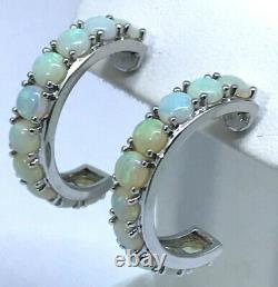 925 Sterling Argent Naturel Solide Opal Hoop Boucles D'oreilles Australian Opale Griffe Ensemble