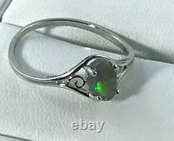 925 Sterling Silver Solid Black Opal Ring Australian Opal Griff Set