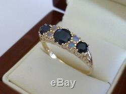 9ct Solid Gold Vintage Insp Sapphire & Opal Anneau R75 Personnalisé