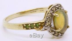 9k Solide Jaune D'or Ovale Dark Crystal Opal Et Blanc Et Vert Topaz Halo Anneau Sz 9