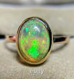 9k Vintage 9ct Solid Gold Opal Anneau