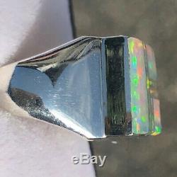 Agréable! Carré Homme Bleu Clair Rouge Vert Opal Ombre Bague 10.5 U Solide