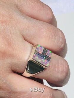 Agréable! Light Blue Red Square Green Men Opal Ombre Chevalière 10 T + Uk Solide