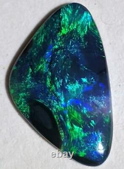 Aile Papillon! 2.81 Solid Black Opal Blue Green Freeform Lightning Ridge Au