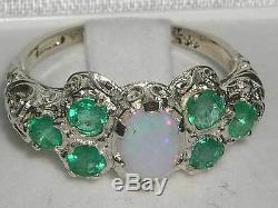 Anglais Solides Argent 925 Femmes Grande Opale Et Bague Emeraude Art Nouveau