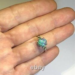Anneau D'opale Noir D'australie. 21ct Côtés Tourmaline Solid Lr 1.76ct Bleu Vert X45