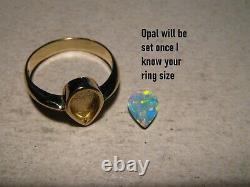Anneau Opal 3,5 Grammes Solide 14k Or Jaune Gratuit Re Taille