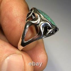 Anneau Opal Australien Argent Sterling. 925 Cabochon Gem 5,24 Cts Solid Lr Z30