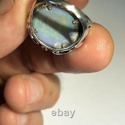 Anneau Opal Australien Argent Sterling. 925 Cabochon Gem 5,24 Cts Solide Lr Z030