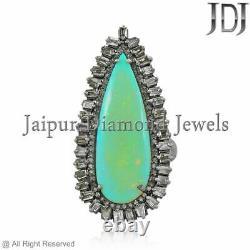 Anneau Opal Diamond Argent Sterling 925 Taille 7 Natural Solid Grams Bijoux Cadeaux