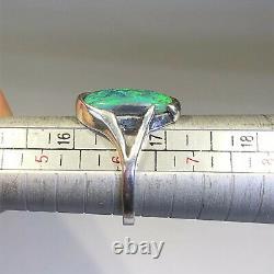 Anneau Opal Noir Australien Argent Sterling Lr 1.62ct Gemme Solide Vert X064