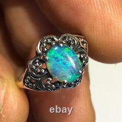 Anneau Opal Noir Australien Video Argent Sterling Bleu Vert. 77ct Gemme Solide Y79