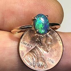 Anneau Opal Noir Australien Video Or Bleu Vert 14k Solid. 97ct Lr Gemme X46
