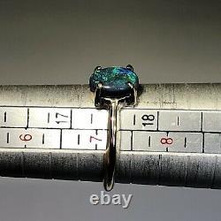 Anneau Opal Noir Video Or Bleu Vert 14k. 97ct Gemme Ovale Solide Lr X46