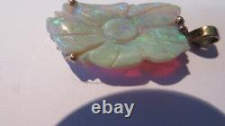Antique 14k Solid Gold Carved Flower 20ct Natural Opal Charm Pendentif Green Fire