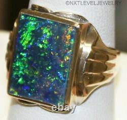 Antique 1920 Art Déco Large Green Blue Natural Opal 10k Solid Gold Men's Ring