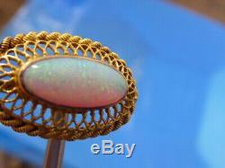 Antique Massif 14k Or Jaune Fine Miné Australienne Rouge Vert Opale Pin