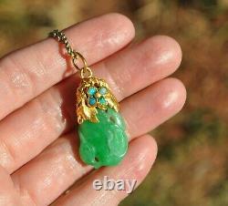 Antique Old Vtg 22k Solid Gold & Green Carved Jade Opal Collier Pendentif 18