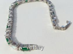 Argent Emeraude Et Opal Sterling Bracelet Solide 7,5 Gorgeous Large 17.71g