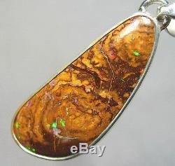 Argent Rouge & Vert Australian Natural Solid Yowah Boulder Opal Pendentif