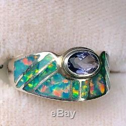 Art Déco Vintage Brésilien Vert Opale Bague Iolite Mesdames Solid 5 L Uk Sterling