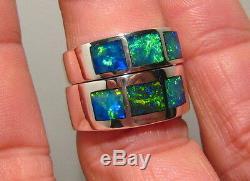 Assortiment Son Hers Epoux Solide Opale Inlay Mariage Bague En Argent 925