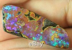 Australian Boulder Opal Pierre Naturel Solide Coupe 24,55 + Cts VID