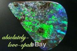 Australian Boulder Opals Gem Feu Vert 6.6ct Coupe Solide, 17.6mm + VID