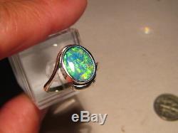 Australian Gem Opal Anneau 4,2 Grammes Solide 14 K Blanc D'or Gratuit Re Taille