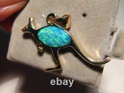 Australian Gem Opal Kangaroo Pendentif Solide 14 K D'or Jaune