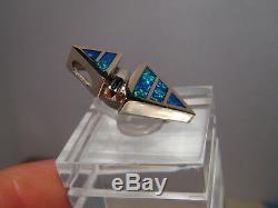 Australian Gem Opal Pendentif En Or Blanc Massif 14 Kt Bleu Et Vert