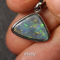 Australian Lightning Ridge Solide Opal Pendentif Silver L21.2 MM 1.69g