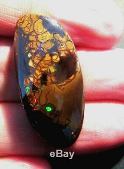 Australian Natural Boulder Opal Cut Solide Pierre Rouges Et Les Verts 28.4ct (2053)